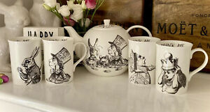 Alice In Wonderland Mad Hatters Tea Party Bone China Teapot Four Cups Tea Set