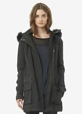 Vince Quilted Genuine Coyote Fur Trim Black Parka Coat Size Small $995+