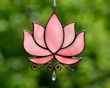 Stained glass lotus suncatcher, flower windows hangings decoration