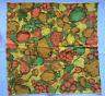 Set of 6 Vintage Mid Century Napkins Cotton Orange Green Yellow Brown Fruit