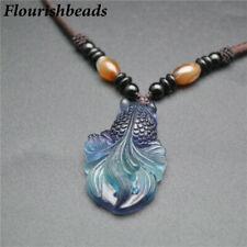 Natural Fluorite Stone Goldfish Shape Pendant Chains Necklace Fashion Jewelry