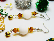 Elegant Christmas Holiday Gold Jingle Bell Earrings White and Gold Glass Beads