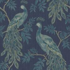 Arthouse Lazzaro Peacock Bird Animal  Wallpaper Metallic Blue Heavyweight Vinyl