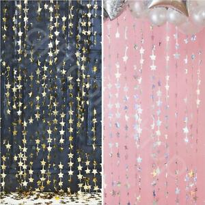 Iridescent Gold Star Foil Fringe Tinsel Curtain Backdrop Wedding Christmas Decor