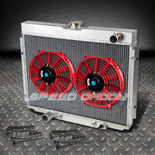 "3-ROW ALUMINUM RACING RADIATOR+2 X 10"" RED FAN 67-70 FORD MUSTANG/GT/FALCON V8"