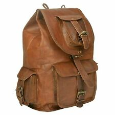 Real Genuine vintage Leather Bag Rucksack Backpack Brown Travel Walking Handmade