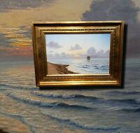 Wundervolle Strandszene antikes Ölgemälde signiert JOH. LÜTKEN 1915 Seestück