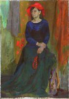"""Russischer Realist Expressionist Öl Leinwand """"Mädchen mit Hut"""" 140x100 cm XXXL"""