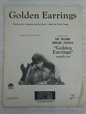 Sheet Music - Golden Earrings (Special Picture Release) - Milland/Dietrich 1946