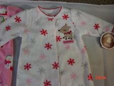 NWT 2 Christmas Sleeper 0-3 month Santa Deer Fleece New Xmas snowman scarf fawn