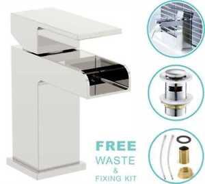 Modern Bathroom Basin Sink Tap Monobloc Mixer Taps Faucet Waterfall Chrome Brass