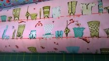 washing on a line/ drying days on pink background  Cotton Fabric by the Metre