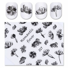 Fashion Black Ink Painting Flower 3D Nail Sticker Nail Art Transfer Decals