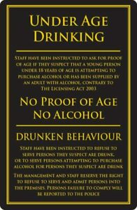 Under Age Drinking Sign Pub Bar Restaurant Licensing Notice No Alcohol Black
