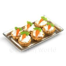 6 Loose Casa delle Bambole Miniatura Fondente Torte di carota su un vassoio