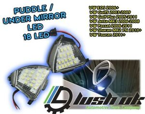 2x GOLF MK5 UNDER MIRROR LIGHTS PUDDLE R32 GTI LED SMD 501 T10 Unit Ambient