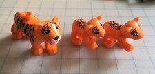 Lego Duplo  Tiger Animals Lot Set  Adult Mom & Baby Cubs  Orange/Black Lot Set