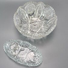 ABP American Brilliant Period Cut Glass Sawtooth Rim Candy Deep Bowl Dish