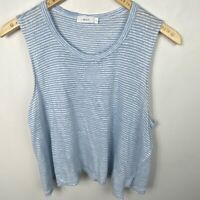 ALC Linen Ines Striped T-Shirt Blue Sleeveless Womens Size Large Tee Round Neck