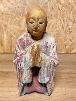 SCULPTURE  BOIS MOINE BOUDDHISTE ANCIEN, DORURE, ART ASIATIQUE, ETHNIQUE