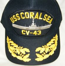 US NAVY CAP ORIGINAL USS CORAL SEA CV-43 Made in USA Double Eggs One Size