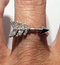 Celebrity Style Boho CZ SOLID 925 sterling Silver Arrow Ring Sz 7