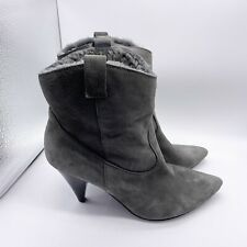 Sigerson Morrison Boots Women's 9 Gray Suede Pointy Toe Fleece Shearling Lined
