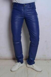 New Men's Genuine Lambskin 100% Real Leather Pant Basic Slim Fit Blue Trousers