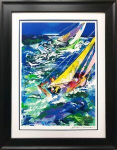 "LeRoy Neiman ""High Seas Sailing"" Framed Hand Signed Serigraph Nautical Seascape"