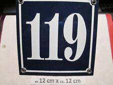 Hausnummer  Emaille Nr. 119 weisse Zahl auf blauem Hintergrund 12 cm x 12 cm