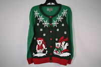 Ugly Christmas SweaterWomen's SYP5-3420CAMZ Polar Bear Cardigan SweaterEvergreen