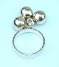 VINTAGE DENMARK DESIGNER NE FROM STERLING SILVER RING W/ 3 DANGLE BALLS SIZE 5