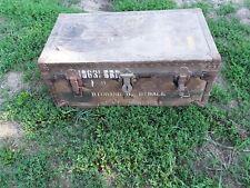 Vintage Wwii Military Foot Locker Trunk w/ Insert Tray 1947 Poirier & McLane Ny