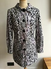 M&S Per Una Black/lilac Leopard Print Cotton Mix Lined Coat in size 10 Rrp£65