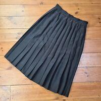 """Vintage 1980s M&S St Michael Black Pleated Knee Length Skirt - Waist 30"""" UK 12"""