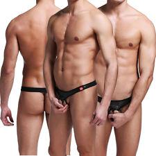 Sexy Men's Pouch Underpants PU Leather Thong Bikini Brief G-string Underwear L