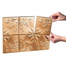 "Set of 14 Tin Copper Kitchen Backsplash Tiles w/ Adhesive Strips ea. 6""Sq"