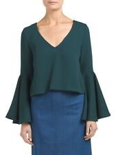 INA Bell Sleeve Open Back Kelly Green Top Size Large