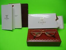 CARTIER RIVOLI VINTAGE CAT EYE GLASSES 18k PLATED GOLD #54-19 WITH FREE SHIPPING