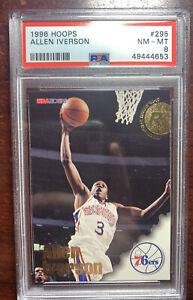 1996 Hoops #295 Allen Iverson Rookie PSA 8 Philadelphia 76ers PMJS 53