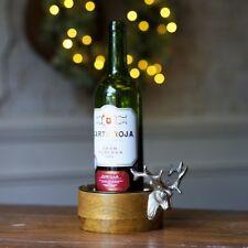 Stags Head Wooden Bottle Coaster Holder Champagne Huntsman Deer Antlers Gift New