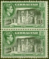 Gibraltar 1942 1s Black & Green SG127bvar Vertical Line before Southport Fine...