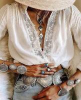 M New White Lace Long Sleeve Gypsy Boho Blouse Vtg 70s Insp Top Womens MEDIUM