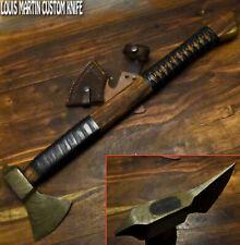 New listing Louis Martin Custom Made Damascus Steel Walnut Wood Hunting Axe Knife