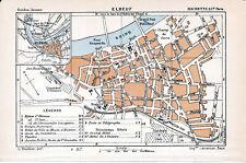 76 Elbeuf 1901 pt. plan ville + guide (4 p.) pont suspendu St-Aubin champ foire