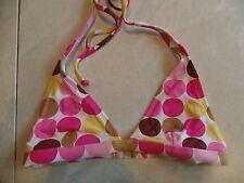 juniors RAMPAGE POLKA-DOT BIKINI TOP swimsuit BROWN PINK triangle SMALL size 3/5