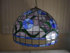 Vtg Tiffany Style Leaded Stained Glass Hanging Light Fixture/Lamp Floral -HUGE-