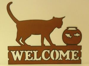 Metal Cat and FIsh Bowl Welcome Sign - Made in USA!!!!