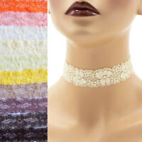 Stretch Lace Choker 1 - 1.25 inch wide custom necklace 25 - 30 mm elastic Brown+