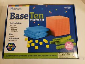 Learning Resources Base Ten 141 piece Starter Set Brights #3551 / activity book